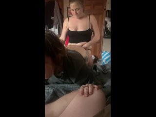 Watching the Wife Fuck the GF with a Strap on while I Jerk off