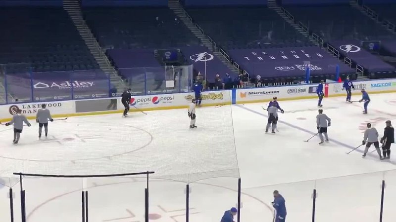 Visual proof of Nikita Kucherov's attendance at morning skate Kuch is in white Bolts NSHvsTBL