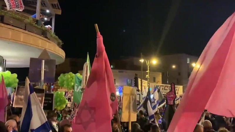 Митинг еврейских незаконных поселенцев против Нетаньяху в оккупированном Иерусалиме 9