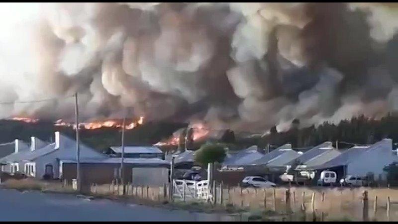 Лесной пожар в Патагонии Аргентина