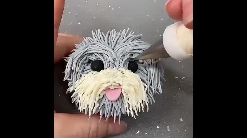 Морда собачки пирожные кексы декор Видео из открытых источников сети Интернет автор неизвестен