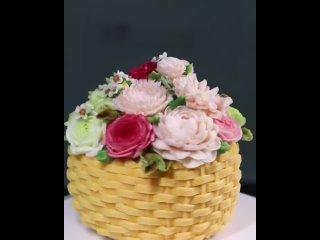 """""""Корзина с цветами"""" Торт. Видео из открытых источников сети Интернет, автор неизвестен"""