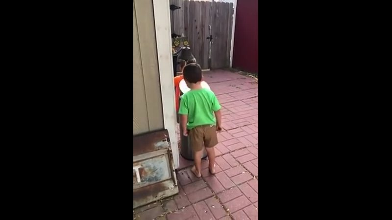 Kids Jokingly Hit Each Other With Trash Cans Lid by Stepping on Its Pedal - 10_HIGH.mp4