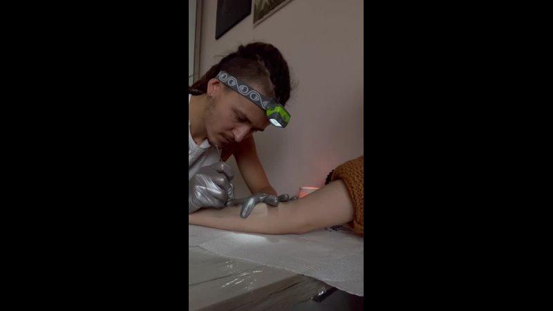 Hand poke tattoo process