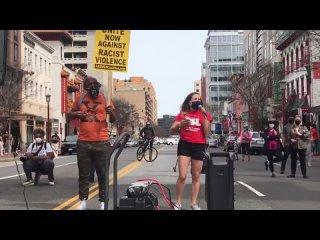 PSL на митинге против ненависти к азиатам и против наездов на Китай в Вашингтоне, округ Колумбия
