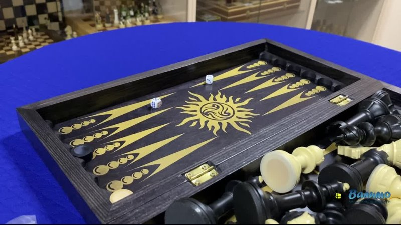 Комплект игр 3в1 Айвенго черно золотой шахматы нарды шашки