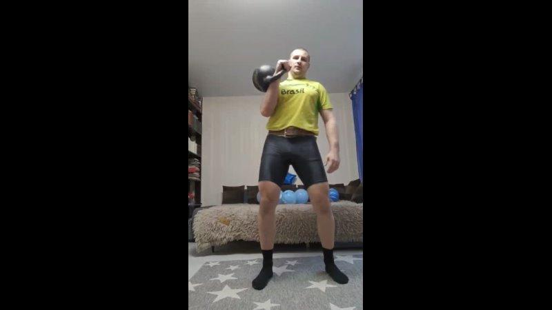 Вызов Армейский жим гири 24 кг в лесенку до 10 и обратно Время 11'53
