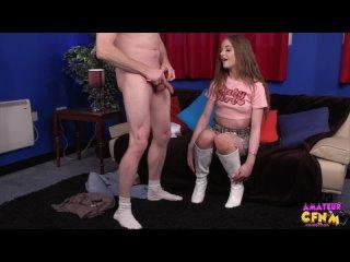 CFNM, lvs, kitten caged release, секси ножки, стройная девушка, в коротком платье, дрочат парню, кончает, короткая юбка, каблуки