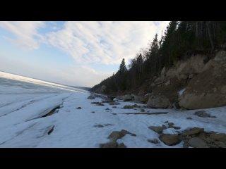 на лыжах по реке от мыса Стрелка до карьера в Полазне
