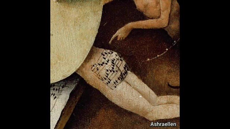 На картине Иеронима Босха Сад земных наслаждений есть одна прелюбопытнейшая деталь на филейной части одного из участников де