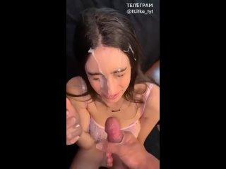 Кончает как конь на личиком милой принцессы (домашнее порно камшот сперма на волосы губы лицо блядь сучка жена шлюха девка) - HD