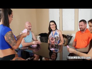 TS Bambi Bliss, Miss Demeanor, Syren De Mer - Card Game Leads To Wild Orgy Banging [Trans. Shemale, Anal, Cumshot, Creampie]