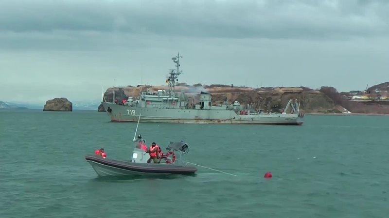 Морские тральщики ТОФ провели учение по обезвреживанию донных мин на Камчатке