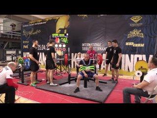Антропов Александр Жим лежа в однопетельной софт экипировке 260 кг св 72,90 кг