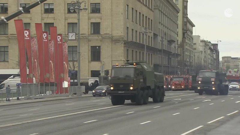 Прибытие техники на Красную площадь для участия в параде Победы