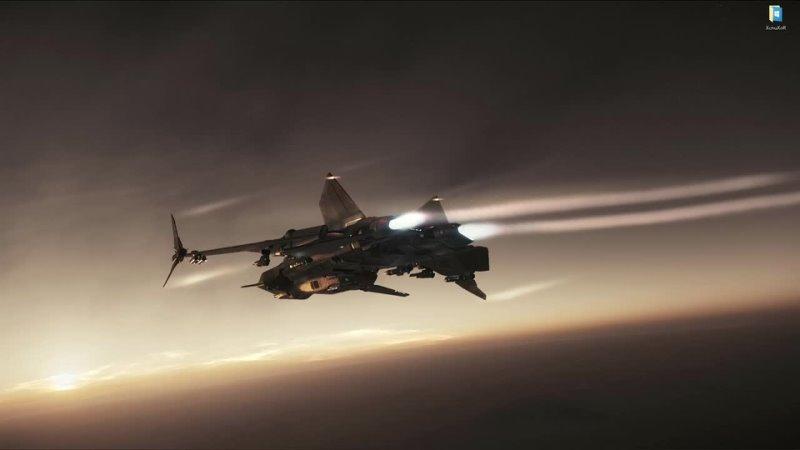 Истребитель Gladius пролетает над Daymar в Star Citizen живые обои для Wallpaper Engine