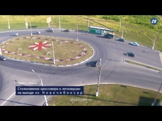 Бухарик на Спортейдже засандалил легковушку на кольце при выезде из Новочебоксарска
