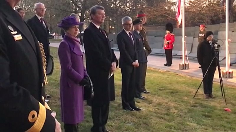 Princess Anne and Sir Timothy Laurence Attend Dawn Service at Wellington Arch, Hyde Park