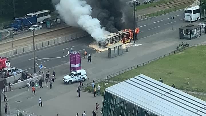 На Савушкина, напротив Беговой, на ходу загорелся автобус.