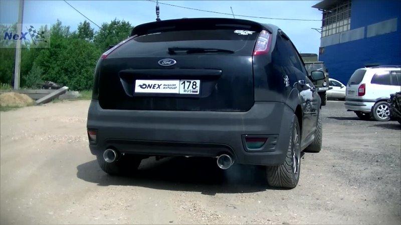NEX® Ford Focus II Hatchback ЭКСКЛЮЗИВ Отвод раздвоенный Насадки диам 101 мм Штатная накладка