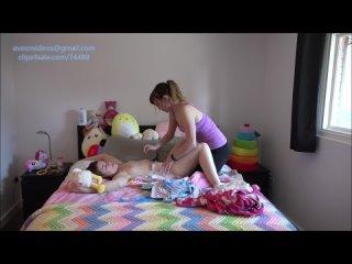 Ava&Ellie - Diaper change at awaken