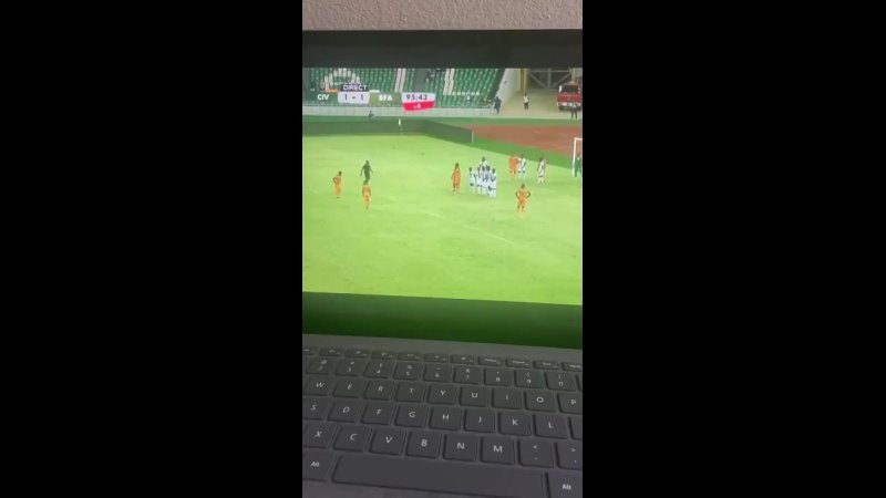 Amad has just curled a 97th minute free kick winner into the top corner for Ivory Coast