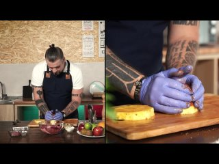 Тропический бургер со свининой. Экзотический салат с говядиной и фруктами