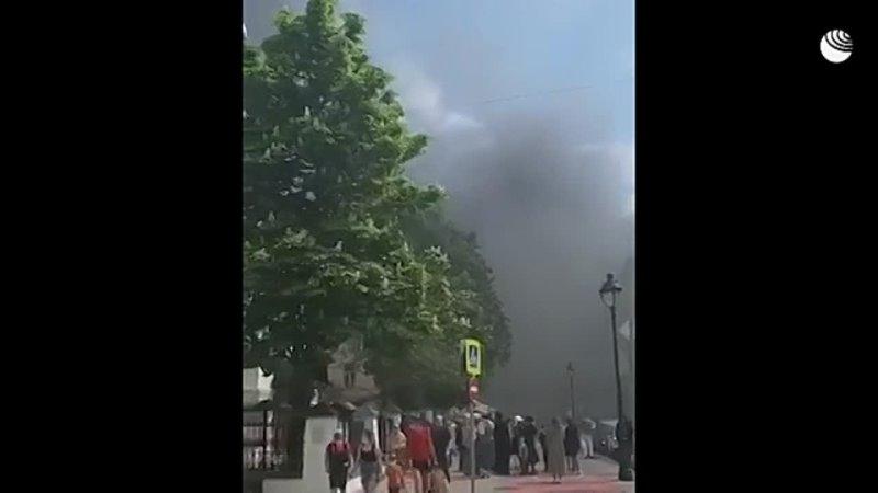 Пожар на Большой Никитской в Москве