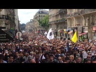 HUGE ANTI VACCINE PASSPORT PROTEST - PARIS FRANCE JULY 31