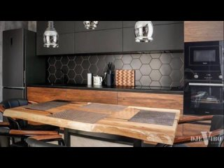 🔥Дизайнерская кухня дерево+черный мат
