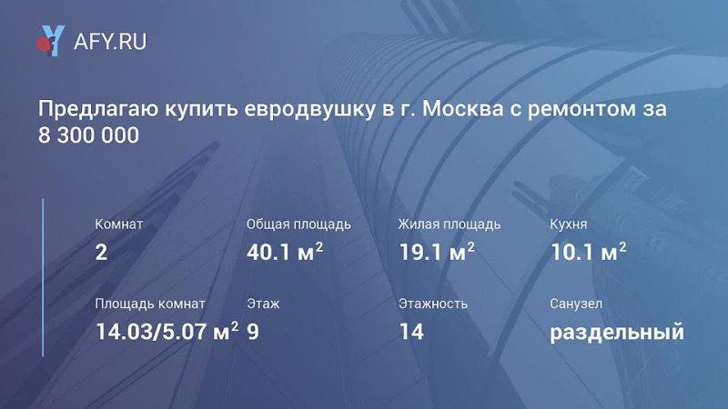 Предлагаю купить евродвушку в г Москва с ремонтом за 8 300 000