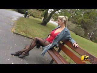 Public masturbate Katerina Hartlova City Park in pantyhose