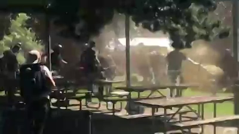 Pepper spray is sprayed everywhere as antifa brawl with right wing protesters at a park near Portland in Oregon City