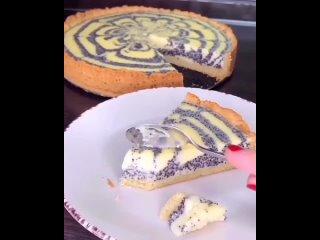 Вкусный, красивый и очень нежный творожно-маковый пирог!