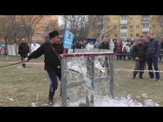 Как казаки рубили бутылки с водой