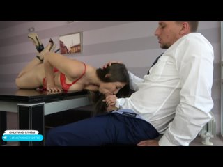 Hot Secretary Gets Fucked Mouth and Pussy by Huge Cock Boss during Break