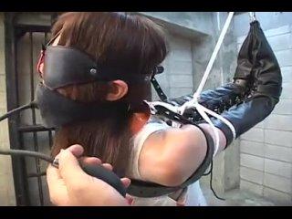 Бондаж азиатки с вибратором, сексуальные пытки, БДСМ, asian bondage, armbinder, vibe bdsm