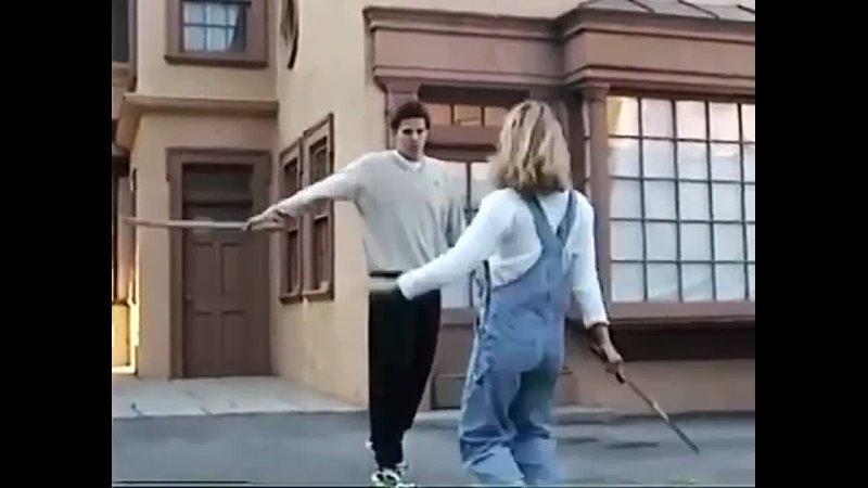 Дэвид и дублёрша Сары репетирую сцену боя 2 сезон