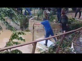 Извлечение автомобиля из воды после наводнения в Гудаута.