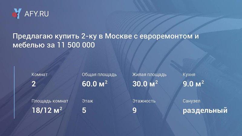Предлагаю купить 2 ку в Москве с евроремонтом и мебелью за 11 500 000