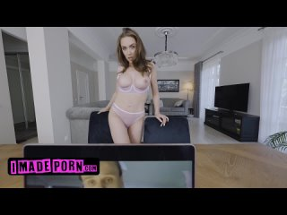 Hot Brunette Luxury Girl Interrupts BF's Zoom Call By Stripteasing And Seducing Him