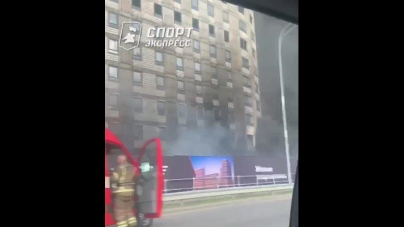 Пожар рядом со стадионом Спартака