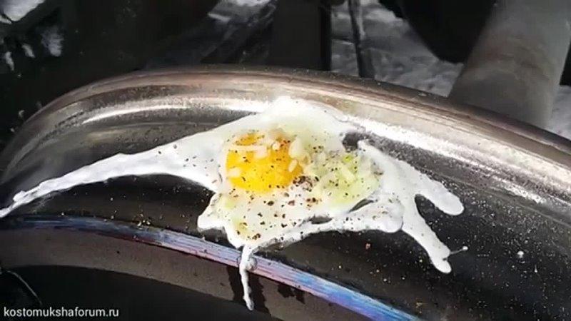 Яичница по железнодорожному Завтрак локомотивной бригады Fried eggs on a rail