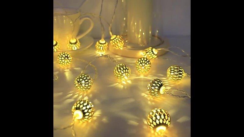 Светодиодная гирлянда с круглыми лампочками 8 режимов питание