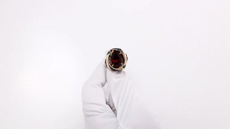Золотое кольцо Александра с гранатом изумрудом и сапфиром