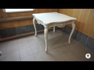 Стол кухонный массив дерева белый