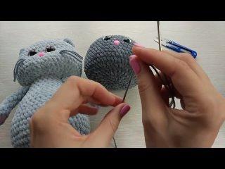 Утяжка мордочки вязаной игрушки амигуруми на примере плюшевого Котика