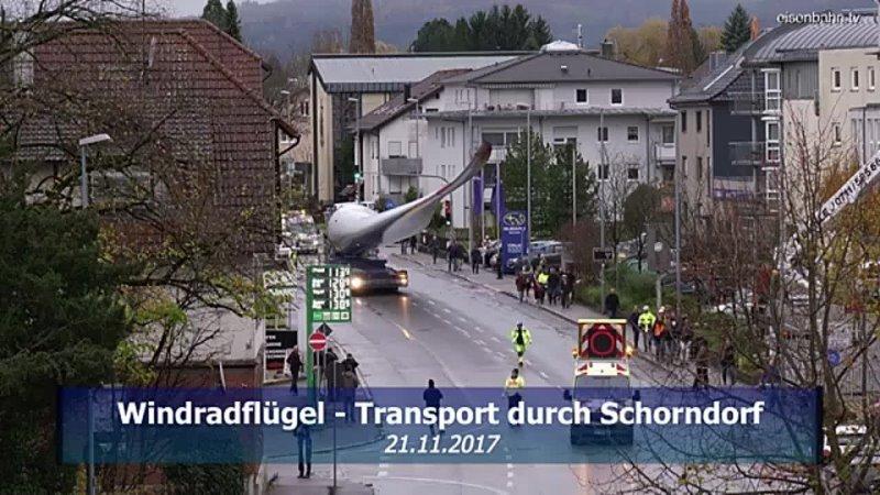 Specialtransport Windrad durch Schorndof