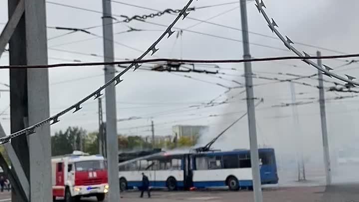 На Руставели в троллейбусном парке сгорел троллейбус. Работают пожарные. Пострадавших вроде нет.