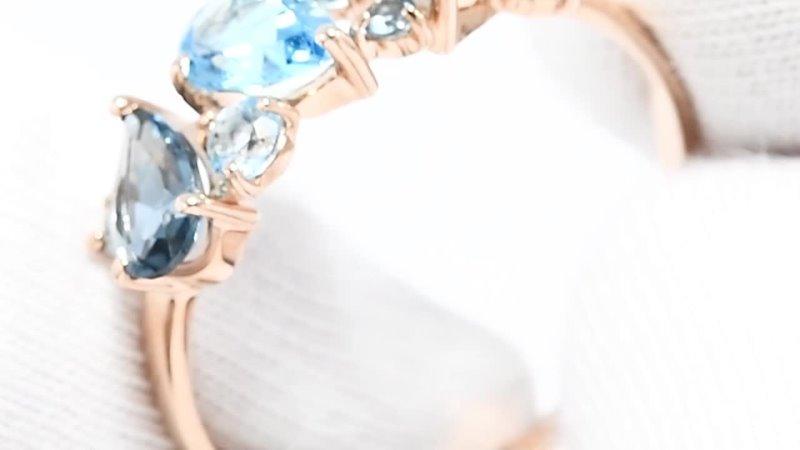 Кольцо из золота с голубыми и синими топазамиАртикул 715439